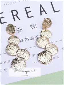 Exaggerated Disc Round Coin Drop Earring for Women Vintage Long Uneven Drawing Wafer Metal Earrings SUN-IMPERIAL United States