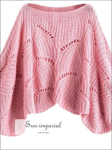 Eyelet detail Batwing Sleeve Sweater knit, knitted, sweater, top, women knitted SUN-IMPERIAL United States