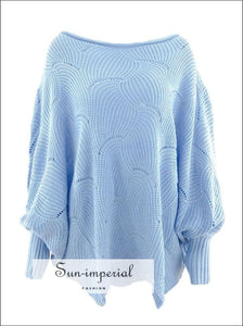 Eyelet detail Batwing Sleeve Sweater 1 SUN-IMPERIAL United States