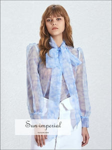 Faithful top - Sheer Blouse Women Long Bow Tie Sleeve Oversize Shirt Hit Color Perspective, Sleeve, Shirt, Sexy Women, vintage SUN-IMPERIAL