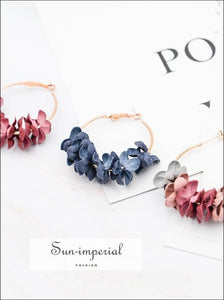 Fashion Fabric Flower Drop Earrings for Women Statement Colorful Petal Circle SUN-IMPERIAL United States