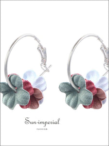 Fashion Fabric Flower Drop Earrings For Women Statement Colorful Petal Circle earrings SUN-IMPERIAL United States