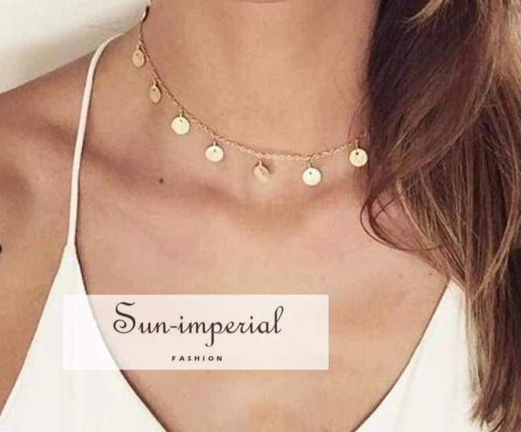 Fashion Gold Color Sequins Coins Choker Necklace for Women Ladies Necklace Jewellry Colares