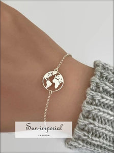 Fashion jewelry Delicate Hollow World Map bracelet Gold Silver Color Jewelry SUN-IMPERIAL United States