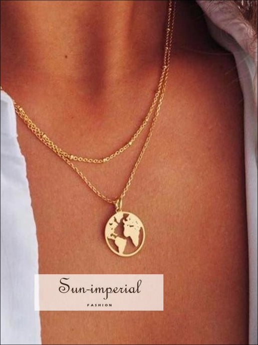 Fashion jewelry Delicate Hollow World Map Pendant Chain Necklace Gold Silver Color SUN-IMPERIAL United States