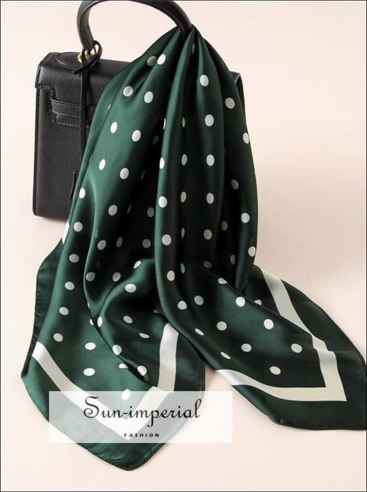 Fashion Women Scarf Luxury Striped Dots Print Pure Silk Shawl Scarfs Square Head Scarves SUN-IMPERIAL United States