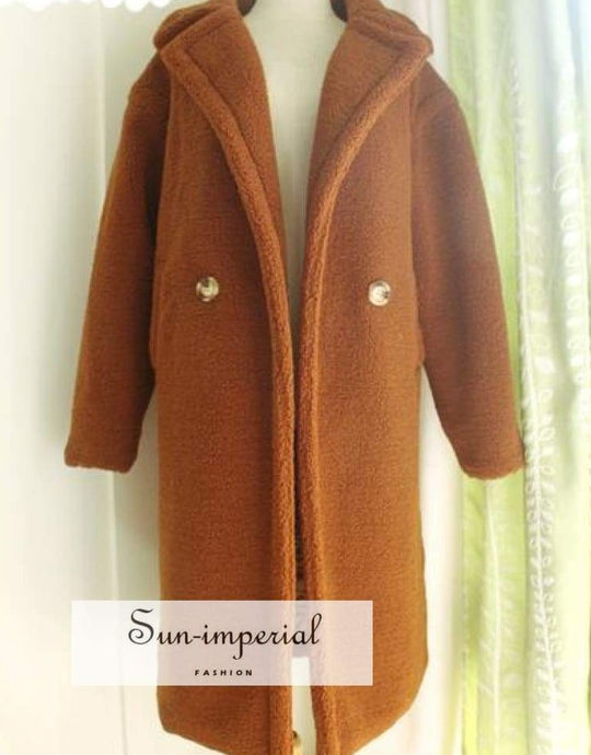Faux Fur Teddy Coat Long Women Lamb 10 Color thick SUN-IMPERIAL United States
