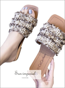 Faux Pearl Decor Tweed Flat Slippers SUN-IMPERIAL United States