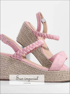 Faux Suede Espadrille Wedge Sandals Braided Ankle Strap Open Toe SUN-IMPERIAL United States