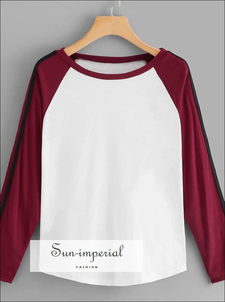 Female Color Matching Loose O-neck T-shirt Casual Fashion Shirt Outdoor Skateboard Long-sleeved SUN-IMPERIAL United States