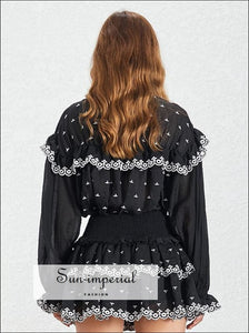 Fiona Dress- Embroidery Print Women Two Piece Set Lapel Collar Flare Sleeve Ruffles Mini Skirt Slim Print, Sleeve, Collar, Set, vintage