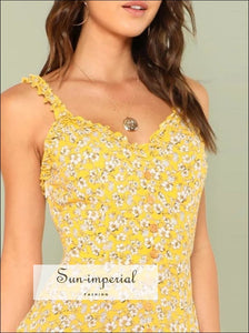 Fit & Flared Floral Cami Dress V Neck Sleeveless Ruffle SUN-IMPERIAL United States