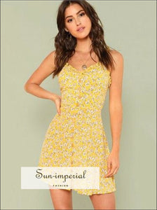 Fit & Flared Floral Cami Dress V Neck Sleeveless Floral Ruffle Dress SUN-IMPERIAL United States