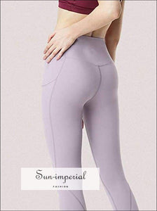 Fitness Running Pants Women side Pocket Yoga Pants High Waist Breathable Elastic Ladies Solid Color