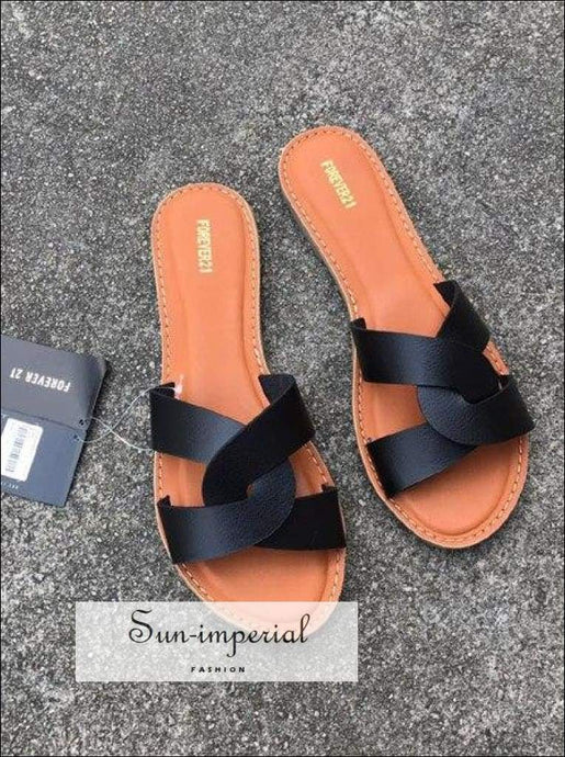 Flat Sandals Summer Women's Slippers Leather Comfortable Sole Cross Weave 8 Colors - Black SUN-IMPERIAL United States