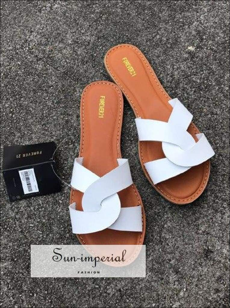 Flat Sandals Summer Women's Slippers Leather Comfortable Sole Cross Weave 8 Colors - Silver SUN-IMPERIAL United States