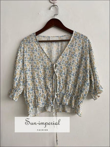Floral Print Half Sleeve Women Blouse Canter Lace- Ruffled V-neck top vintage style SUN-IMPERIAL United States