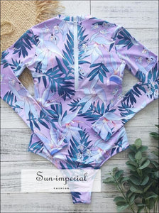Floral Print One Piece Swimsuit Long Sleeve Swimwear High-waist Vintage One-piece 2 piece, piece set, fall outfit, floral print, flower