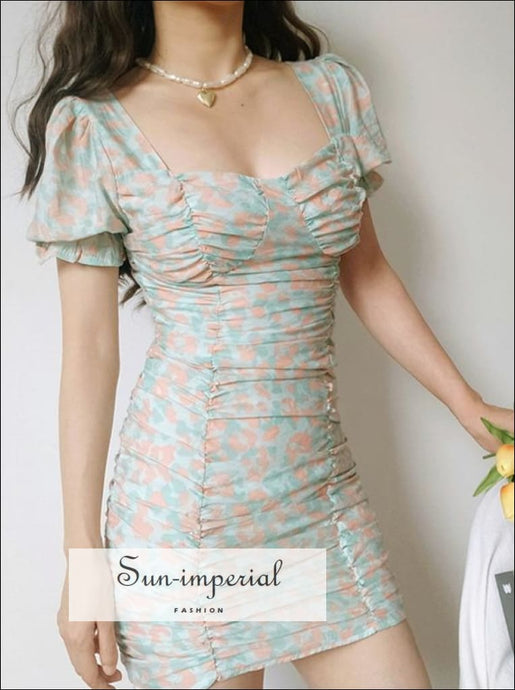 Floral Print Ruched Bodice with Puff Sleeve Bodycon Cut Mini Dress SUN-IMPERIAL United States