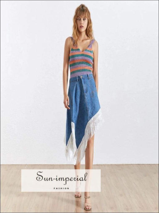 Florence Skirt - Korean Patchwork Denim for Women High Waist Slim Hem Irregular Skirt, Waist, Skirts Female, Tassel Patchwork, vintage
