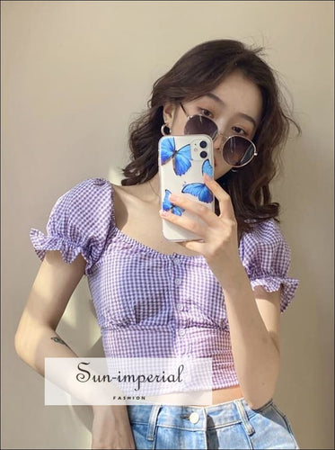 Flounce Sleeve Gingham Blouse 2 SUN-IMPERIAL United States
