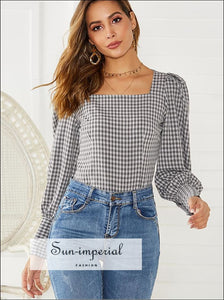 Flounce Sleeve Gingham Blouse SUN-IMPERIAL United States