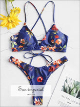 Flower Bikini Set Vintage Women Push up Bra Bandeau Bikinis Padded Summer Female Biqinis Lace