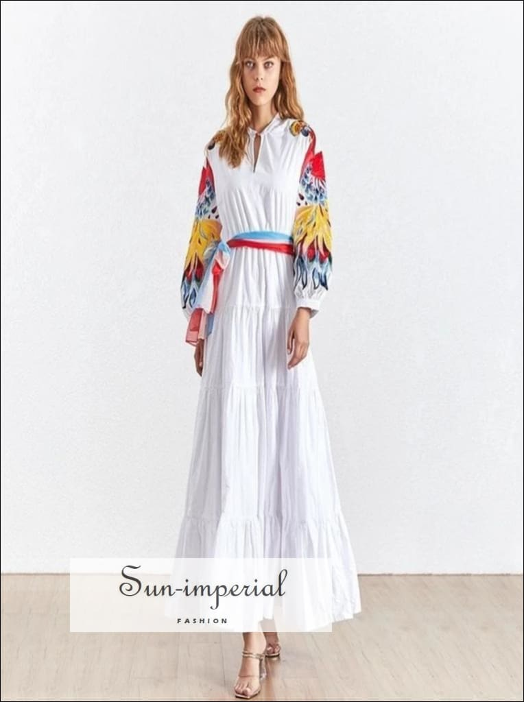 Flower Power Dress- - White maxi loose dress long sleeve dress with peacock print Embroidery Lantern Sleeve Embroidery Patchwork Lantern