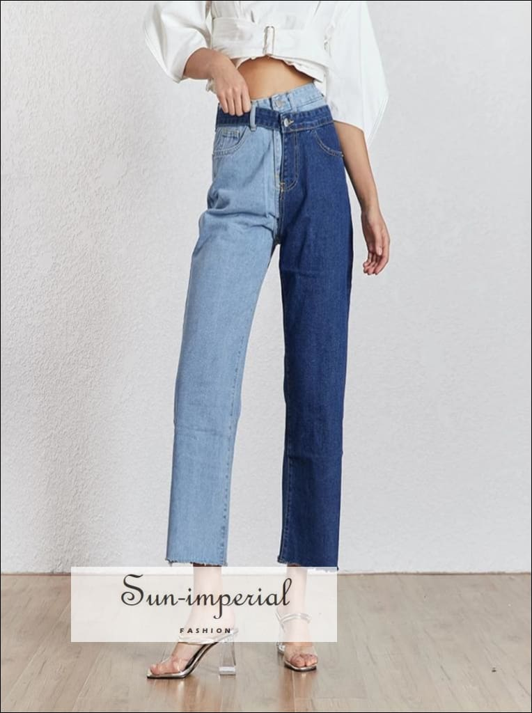 Fort Collins Jeans - Two Tone Jean Pants Light and Dark Blue Straight Leg High Waist Denim for Women