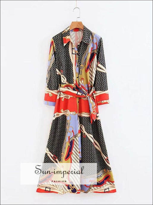 France Patchwork Print Midi Wrap Dress Casual Style SUN-IMPERIAL United States