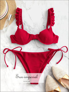 Frilled Textured Tie Underwire Bikini Swimsuit Low Waisted Elastic Tie side Bikini Push Up- Lava Red