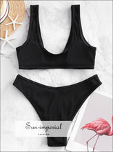 Front Closure Textured Ribbed High Cut Bikini Sets Swimsuit