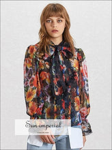 Galilea top - Sheer Floral Print Women Blouse Bowknot Collar Flare Sleeve Loose Shirt