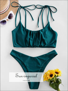 Gathered Cami High Cut Bikini Swimwear Sets Lace up Swimsuits SUN-IMPERIAL United States
