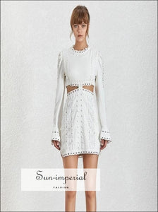 Genesis Dress in White - Spring Women's Dresses O Neck Butterfly Sleeve Lace Embroidery Lace