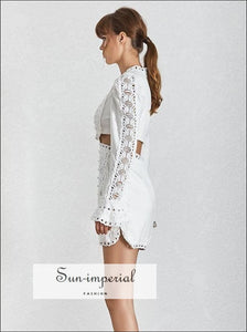 Genesis Dress in White - Spring Womens Dresses O Neck Butterfly Sleeve Lace Embroidery Hollow Out Zipper A Line Dress Butterfly Sleeve Lace