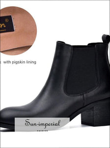 Genuine Leather Winter Boots for Women Classic Chelsea Natural Leather Ladies Shoes Round Toe Thick Heel Ankle Boots SUN-IMPERIAL United