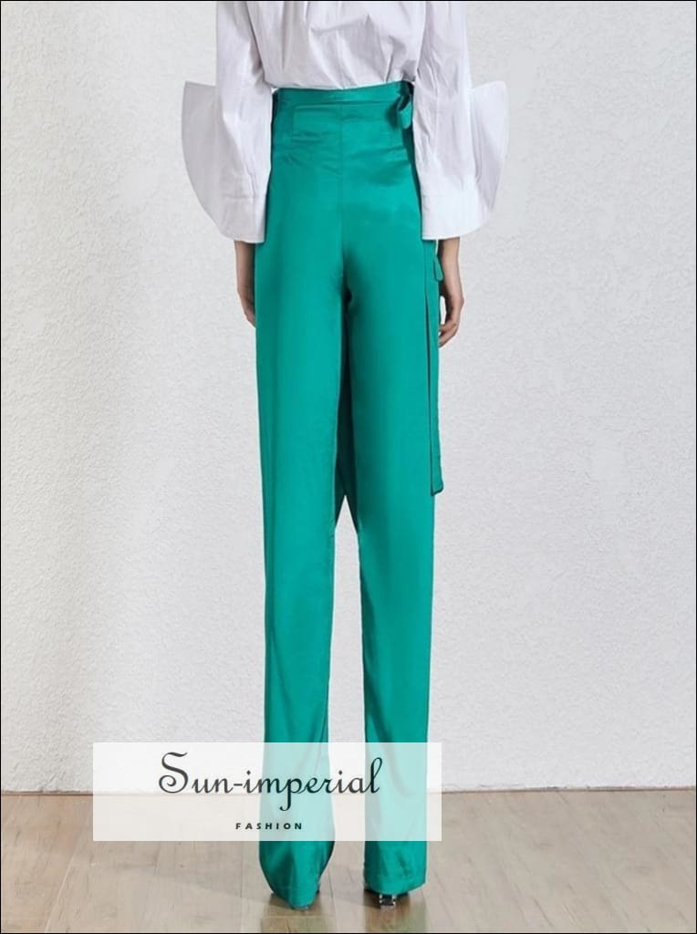 Giselle Pants - Solid Trousers for Women High Waist Wide Leg Warp Chiffon Trousers, Female Fashion, Waist, vintage, SUN-IMPERIAL United