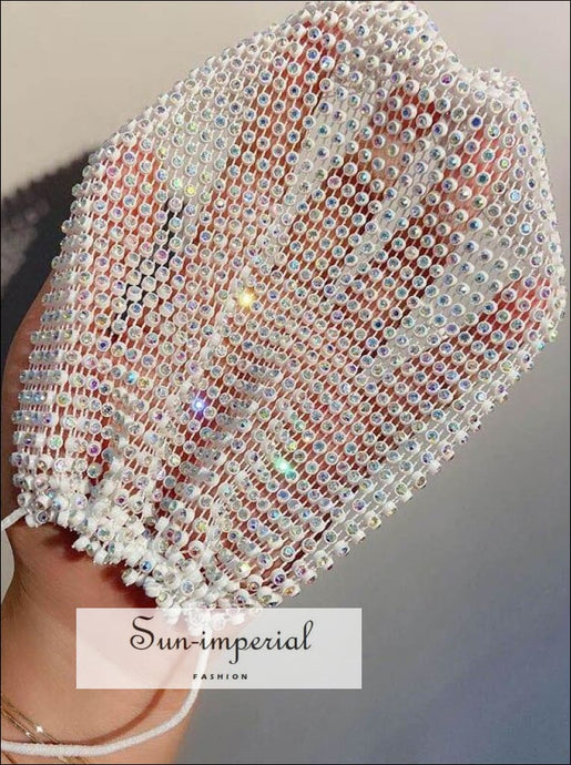 Glitter Rhinestone Decor Face Mask Mouth Breathable Crystal Shiny Masks accessories, chick sexy style, decorative face mask, Mask, Unique