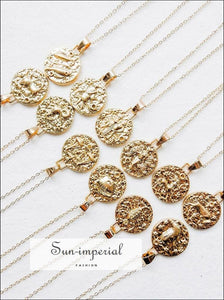 Gold Color 12 Constellation Necklaces & Pendants for Women Coin Chain Necklace SUN-IMPERIAL United States