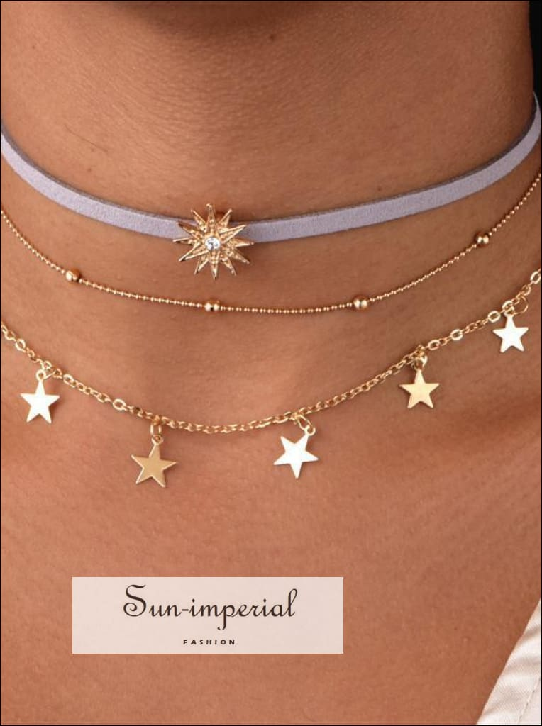 Gold Color Bead Chain Star Multi Layer Choker Necklace for Women Dainty Necklace Set Tattoo Choker