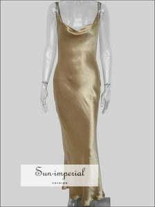Gold Maxi Satin Dress Slim Backless Vintage Cami Straps Cocktail Party backless, best seller, bodycon cut, cami, cami strap SUN-IMPERIAL