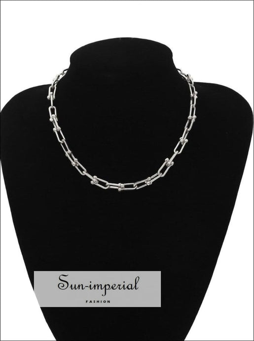 Gold/silver Plated U Shape Chain Choker Necklaces for Women street style SUN-IMPERIAL United States