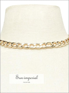 Golden Chunky Chain Choker Necklace for Women