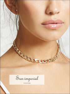 Golden Chunky Chain Choker Necklace For Women SUN-IMPERIAL United States