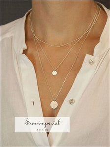 Golden disc Multi layer long necklaces SUN-IMPERIAL United States