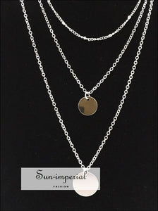 Golden Disc Multi Layer Long Necklaces