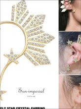 Golden Star Ear Clip on Earrings for Women Crystal Rhinestone Stars Big Cuff SUN-IMPERIAL United States