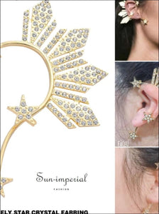 Golden Star Ear Clip on Earrings for Women Crystal Rhinestone Stars Big Ear Cuff SUN-IMPERIAL United States
