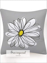 Gray Yellow Flower Cushion Cover Decoration Rectangle Throw Pillowcase for Sofa Decorative Throw